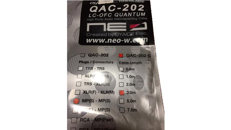 NEO(オヤイデ電気) ギターシールド QAC-202 Made in Japanの楽器・機材シリーズ